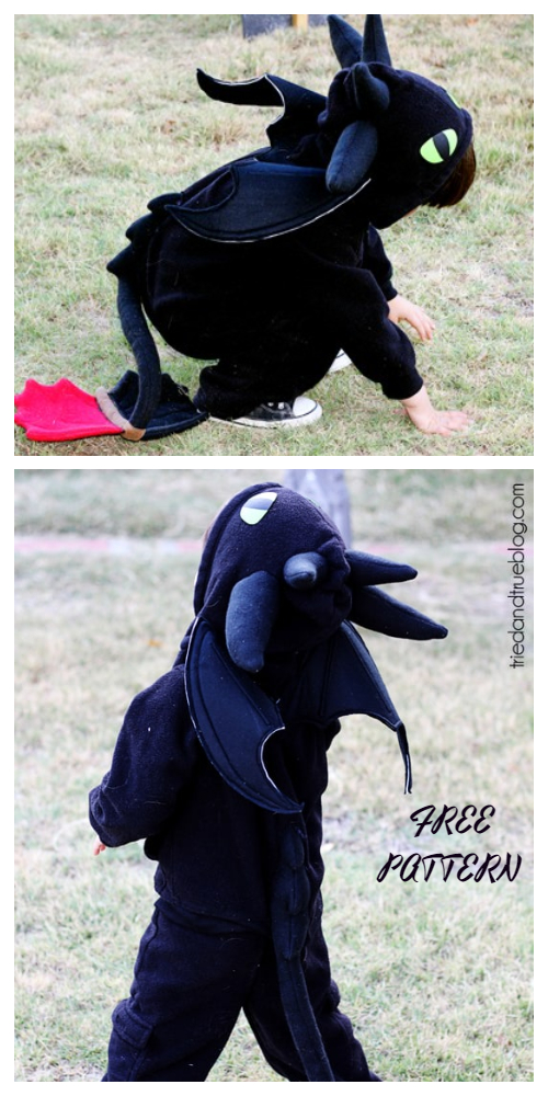 20+ DIY Halloween Costume Tutorials for All Ages -DIY Sweatsuit Dragon Costume Tutorials
