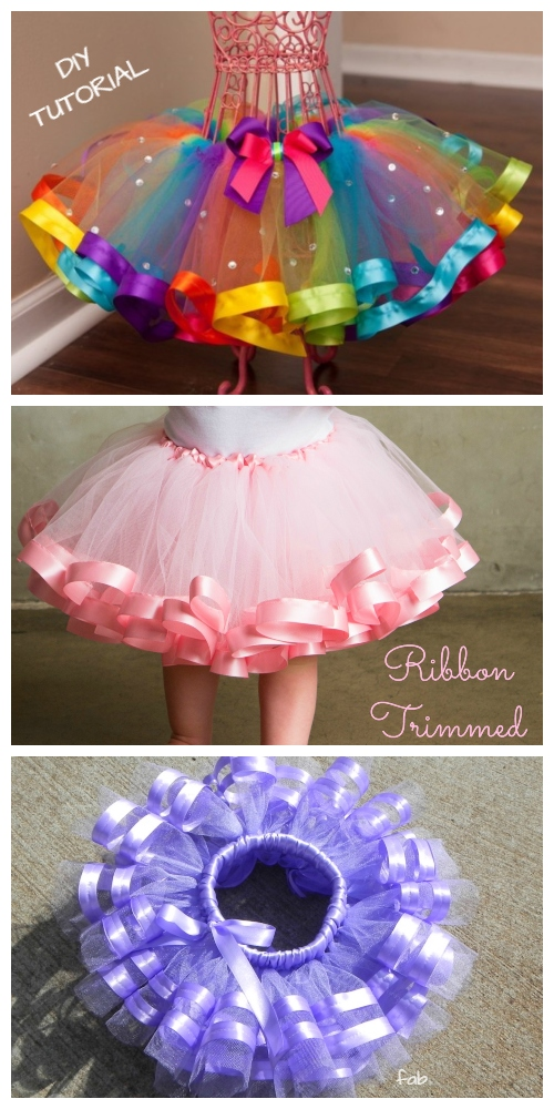 DIY No Sew Tutu Skirt Ideas & Tutorials - Kids Ribbon Trimmed Boutique Tutu Skirt DIY Tutorial