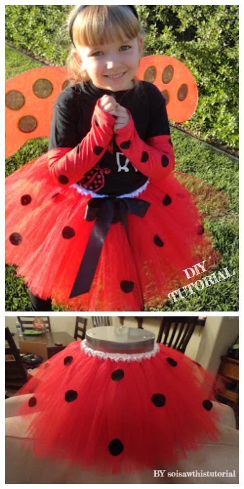 DIY No Sew Tutu Skirt Ideas & Tutorials - Ladybug Tutu skirt DIY Tutorial