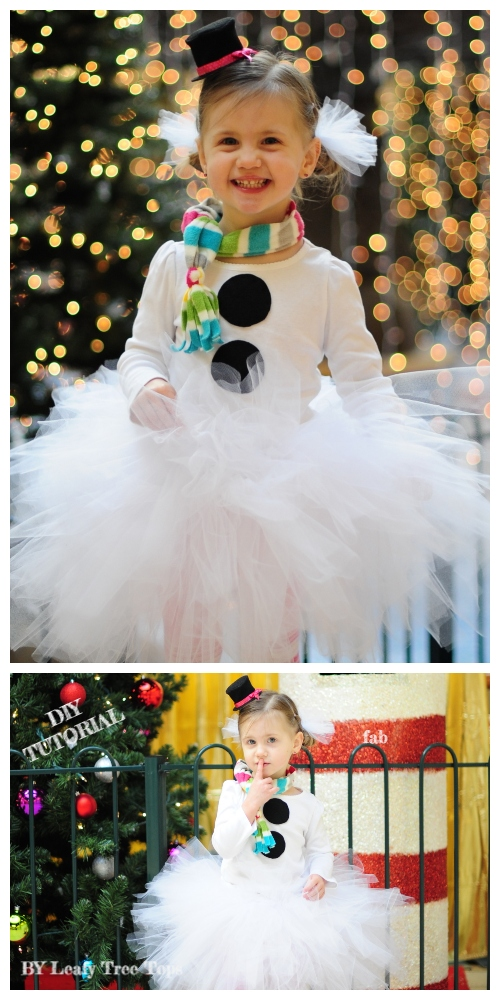 DIY No Sew Tutu Skirt Ideas & Tutorials - Kids SnowmanTutu skirt Costume DIY Tutorial