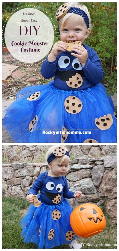 DIY No Sew Tutu Skirt Ideas & Tutorials - Kids Cookie Monster Tutu skirt Costume DIY Tutorial