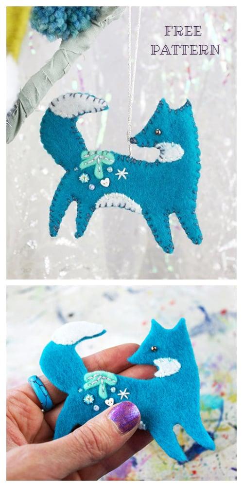 DIY Felt Christmas Ornament Tutorials - Christmas Ice Felt Fox Ornament Free Templates