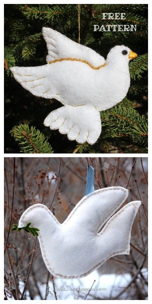 DIY Felt Christmas Ornament Tutorials - Christmas Dove Bird Ornament Free Templates