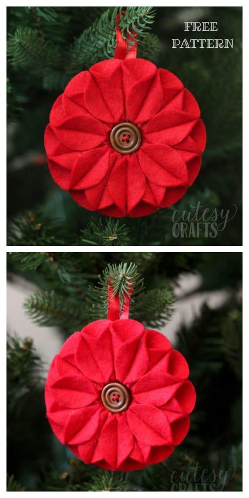 DIY Felt Christmas Ornament Tutorials - Christmas Felt Poinsettia Ornament Free Templates