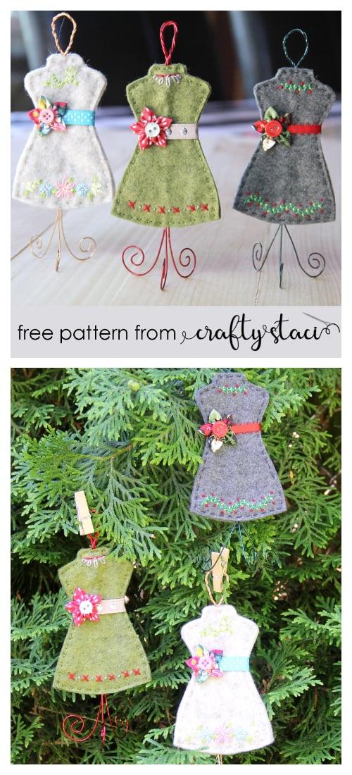 DIY Felt Christmas Ornament Tutorials - Christmas Dress Form Ornament Free Templates