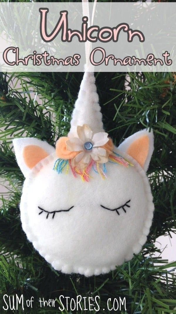 DIY Felt Christmas Ornament Tutorials - Unicorn Ornament Free Templates