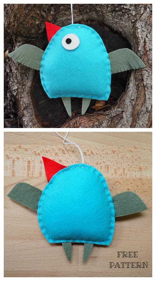 DIY Felt Christmas Ornament Tutorials - Christmas Bird Ornament Free Templates