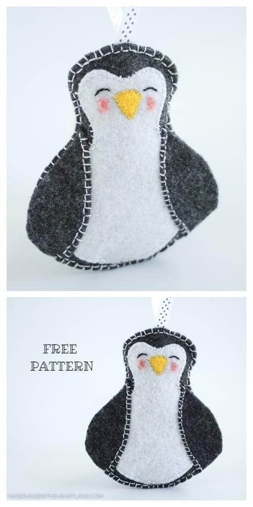 DIY Felt Christmas Ornament Tutorials - Christmas Felt Penguin Ornament Free Templates