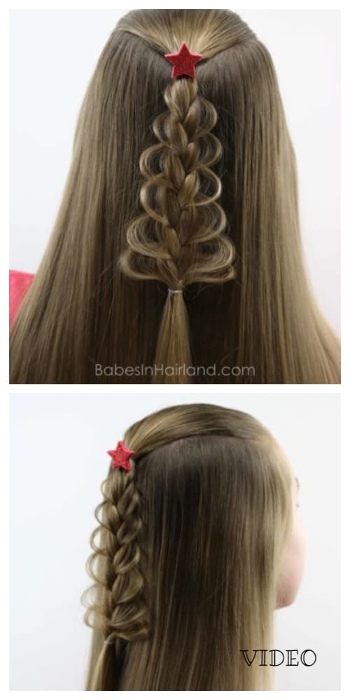 Festive Girls' Christmas Tree Loop Braid Holiday Hairstyle DIY Tutorials + Video