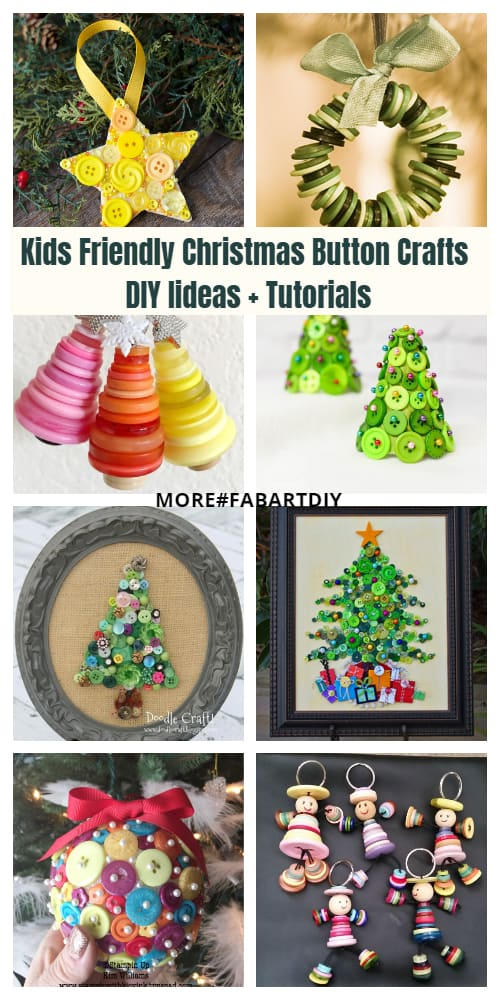 Kids Friendly Christmas Button Crafts Holiday Decorations DIY Ideas + Tutorials