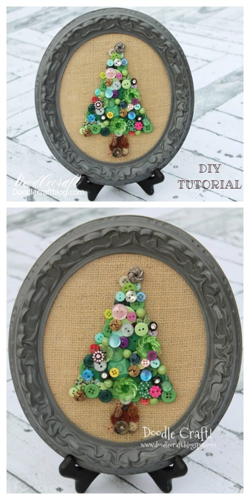 Kids Friendly Christmas Button Crafts Holiday Decorations DIY Ideas - button Christmas tree DIY Tutorial