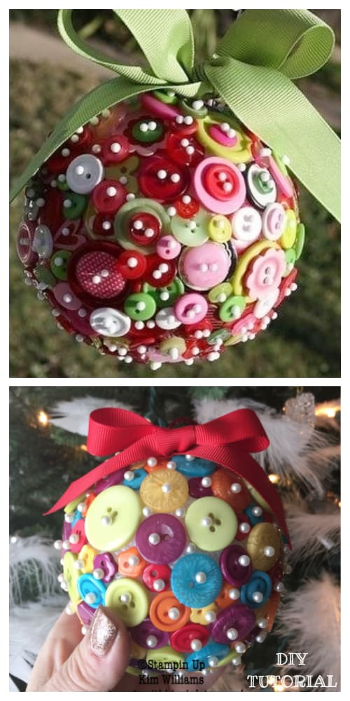 Kids Friendly Christmas Button Crafts Holiday Decorations DIY Ideas - button Christmas ball ornament DIY Tutorial
