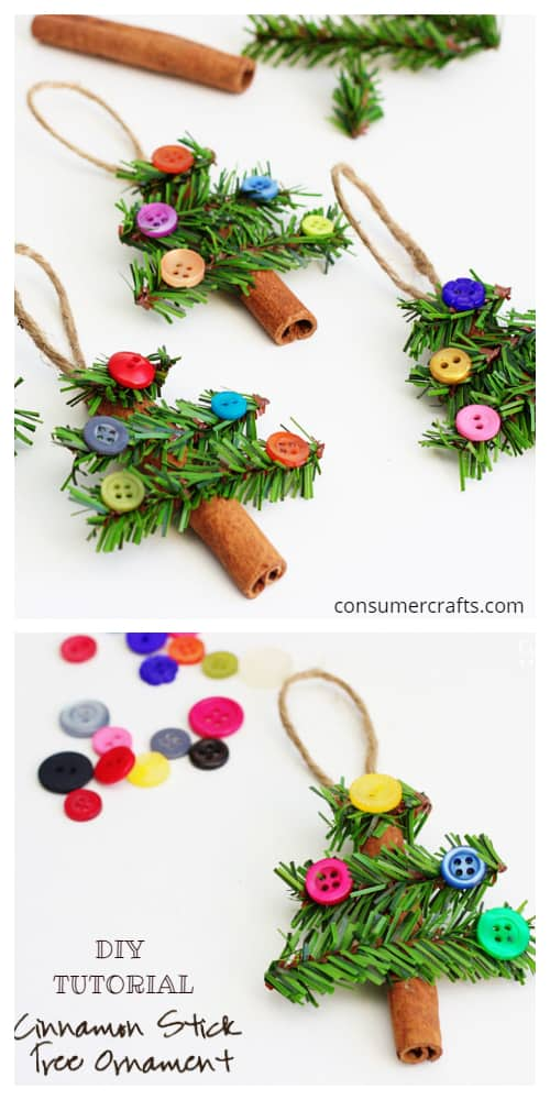 Kids Friendly Christmas Button Crafts Holiday Decorations DIY Ideas - Button Cinnimon Stick Tree Ornament DIY Tutorial