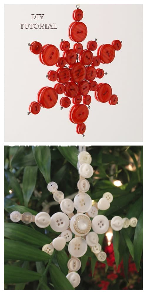 Kids Friendly Christmas Button Crafts Holiday Decorations DIY Ideas - button snowflake ornament