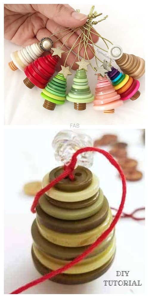 Kids Friendly Christmas Button Crafts Holiday Decorations DIY Ideas - button Christmas tree ornament