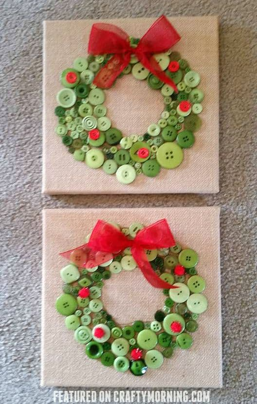 Kids Friendly Christmas Button Crafts Holiday Decorations DIY Ideas - button Christmas Wreath DIY Tutorial