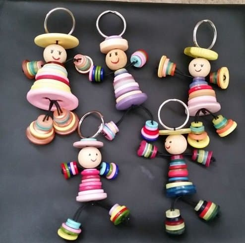 Kids Friendly Christmas Button Crafts Holiday Decorations DIY Ideas - button doll