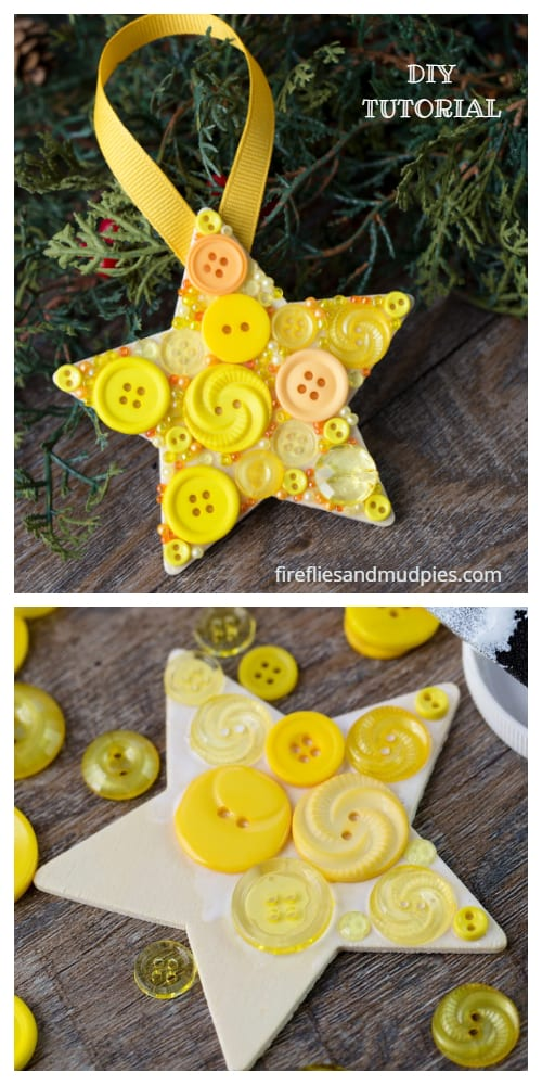 Kids Friendly Christmas Button Crafts Holiday Decorations DIY Ideas - Button Christmas Star Ornament DIY Tutorial