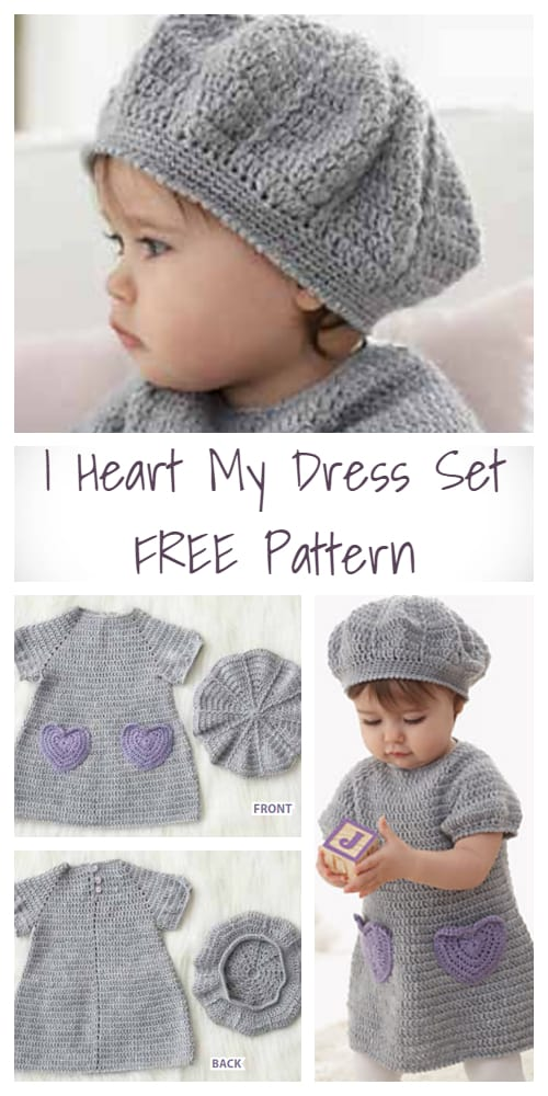 Crochet Beehive Baby Dress And Hat I Heart My Dress Set - FREE Pattern