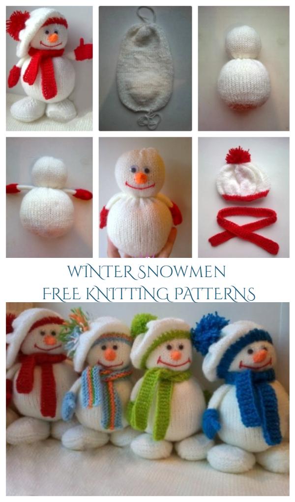 DIY Knitted Winter Hat Snowman Free Knitting Patterns