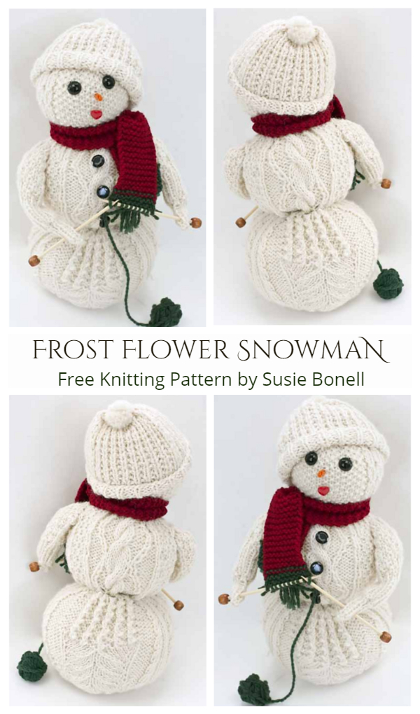 DIY Knit Frost Flower Cabled Snowman Toy Free Knitting Pattern