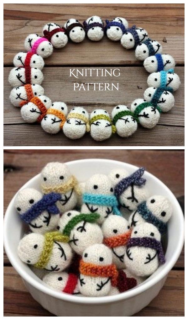 DIY Knit tiny Snowman Toys Knitting Pattern