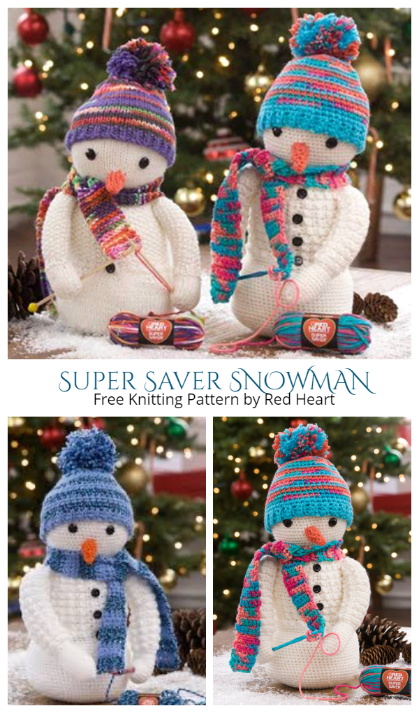 DIY Knit Bobble Snowman Toy Free Knitting Pattern