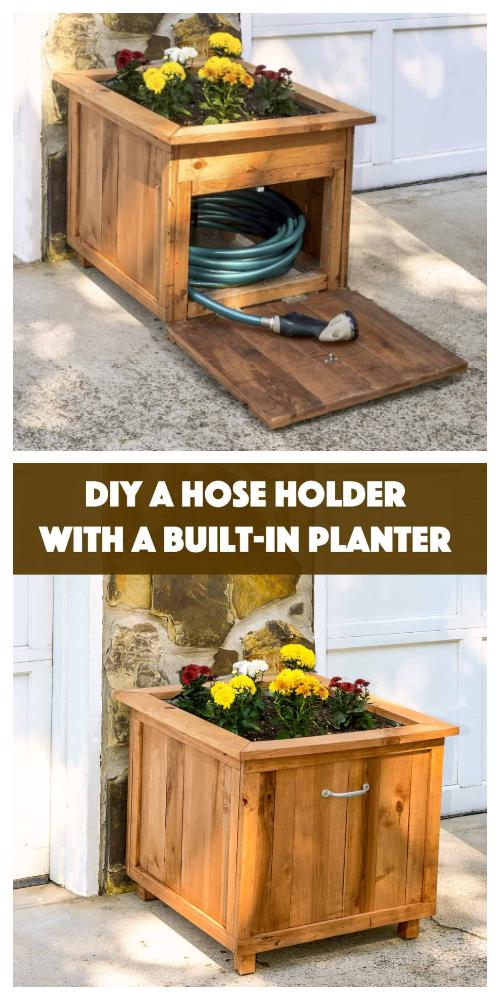 Hose Storage Wood Planter Box DIY Tutorials