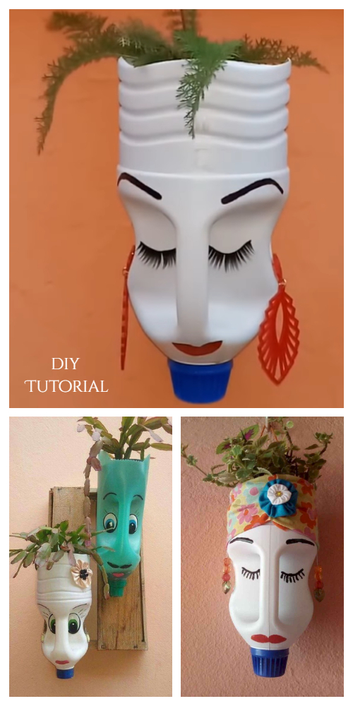 DIY Oil Can Face Plastic Bottle Planter Tutorial + Video