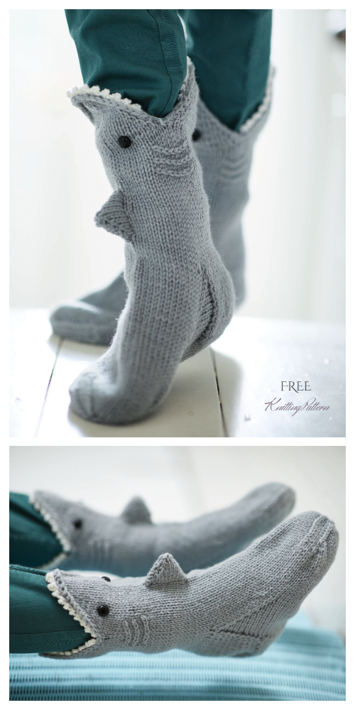 DIY 3D Knitted Shark Socks Free Knitting Pattern