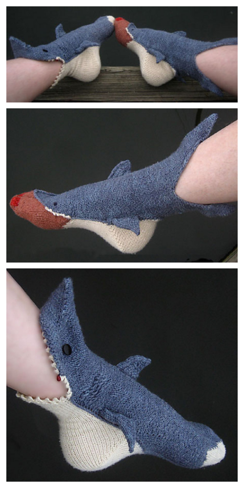 DIY 3D Knitted Shark Bite Socks Knitting Pattern