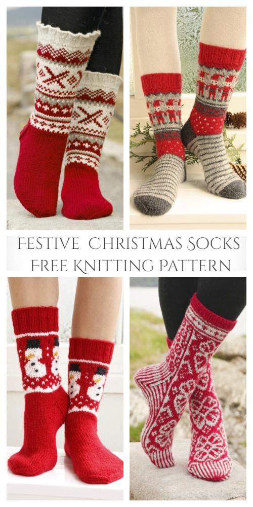 DIY Festive Christmas Socks Free Knitting Pattern