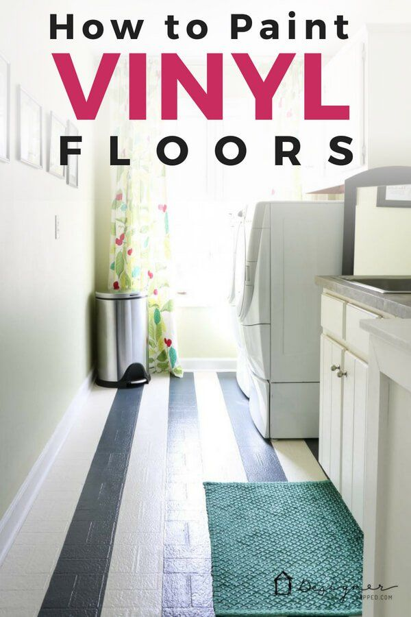 Painting Dull vinyl floors to Bright Tutorial- Genius Ways to Hide The Eyesores In Your Home