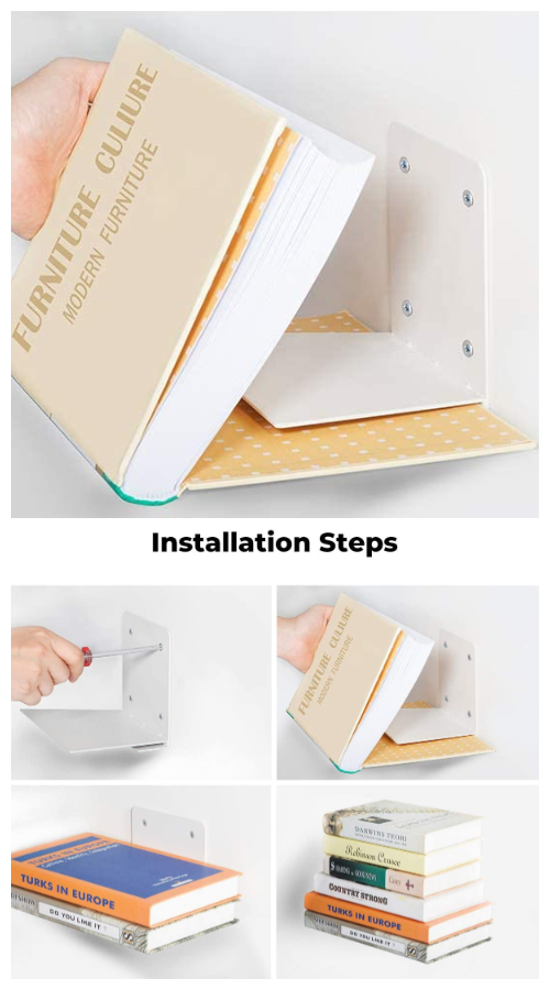 Invisible Floating Bookshelf - Genius Ways to Hide The Eyesores In Your Home