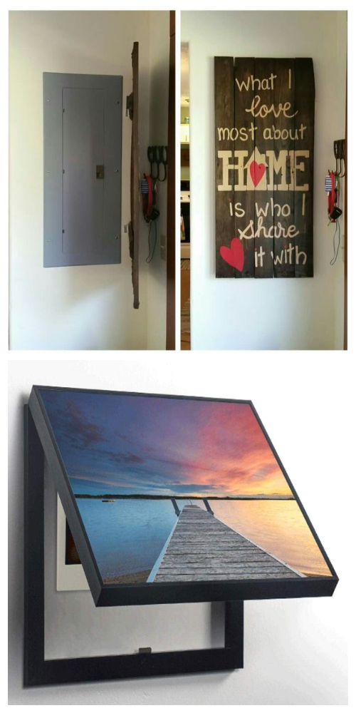 Hide the fuse box behind a hinged painting -Ways to Hide The Eyesores In Your Home