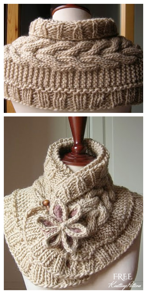 DIY Pretty Cable Knitted Scarfette Free Knitting Pattern