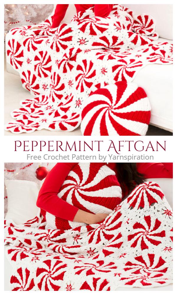 DIY Peppermint Afghan Throw Free Crochet Pattern + Video