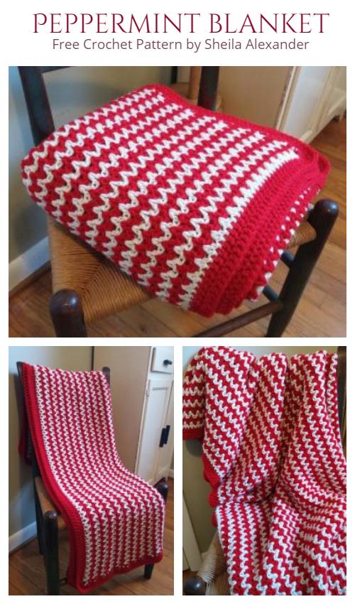 Cozy Peppermint Blanket Free Crochet Pattern