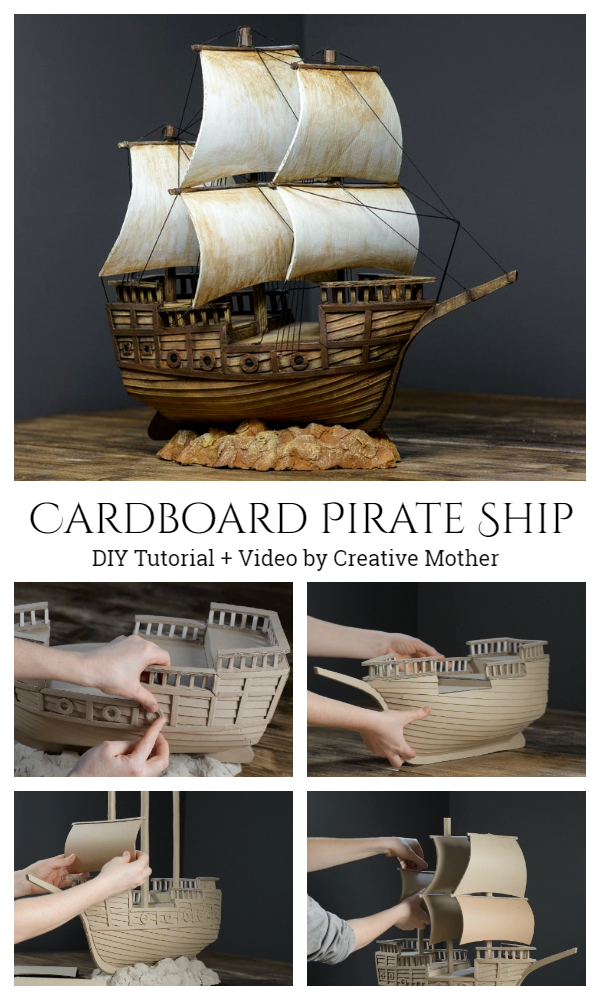 Recycled Cardboard Pirate Ship DIY Tutorial + Video