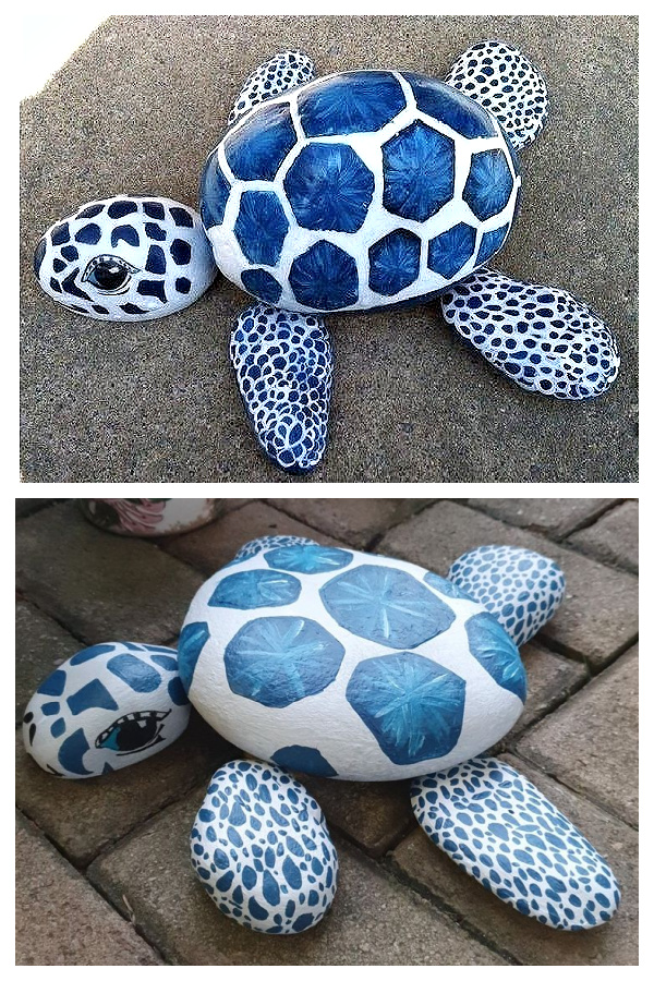 DIY Rock Turtle Garden Decor Ideas and Tutorials